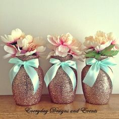 """3 Beautiful Rose Gold Glitter Glass 7"""" Jardin Vases with a Light Mint Green Ribbon Around the vase neck (color intensity may appear brighter in person). The vases in this particular listing are decora"""