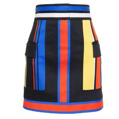 Balmain Striped Skirt (6 860 SEK) ❤ liked on Polyvore