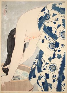 """""""Washing the Hair"""" Author:Itō Shinsui  (Japanese, 1898-1972)Date: published in 1953Medium: Color woodblock print"""