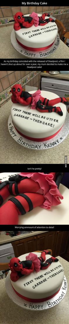 This guy's birthday coincided with the release of Deadpool so his mum made him this AWESOME cake