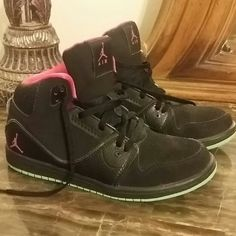 Girls Black Jordans Black W/ lime Green bottoms...Girls size 3 Jordans Jordan Shoes