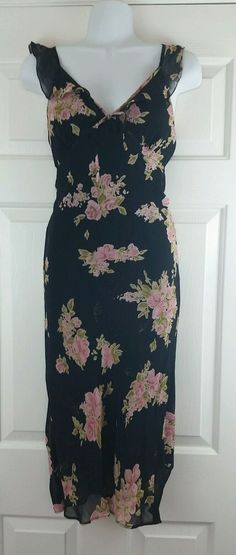 Candies Black Floral Sleeveless Sheer Over Lining Slip Ankle Length Dress M #Candies