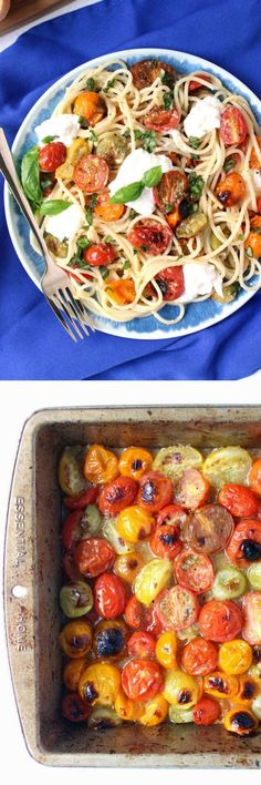 Wonderfully fresh, easy, & ready in just 20 minutes, this Garlic-Poached Heirloom Tomato Spaghetti w/ Basil & Burrata is the perfect meatless Monday dinner! | fresh, farmers market, summer dinners, weeknight meal, vegetarian, pasta