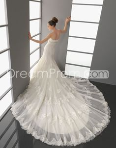 Fantastic Trumpet/Mermaid Strapless Floor-Length Cathedral Train Wedding Dresses  2014 New Style