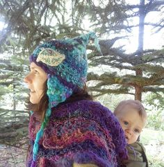 Pixie Hat  Blue Leaf Trapper Earflaps Mountain by tinkertailoruk, $52.00
