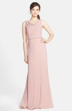 Jenny Yoo Drape Neck Crêpe de Chine Gown