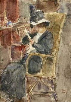 "Isaac Israëls (Dutch, 1865 - 1934) ""Woman with hat reading"""