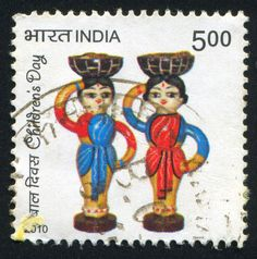 INDIA - CIRCA 2010: stamp printed by India, shows statuettes of women, circa 2010.  Copyright: rook76