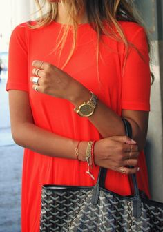 red shirt w. gold accessories