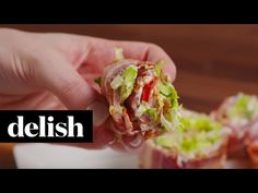 Best BLT Sushi - How to Make BLT Sushi. and add shredded turkey and guac Sushi Recipes, Pork Recipes, Paleo Recipes, Low Carb Recipes, Cooking Recipes, Recipies, Fusion Food, Low Carb Keto, Favorite Recipes