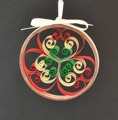 Christmas ornament abstract red white green quilled by Whomsoever
