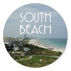 #photo - #South Beach Miami Florida photo Classic Round Sticker