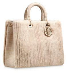 #Dior Beige ribbed mink 'Diorissimo' bag with crocodile handles
