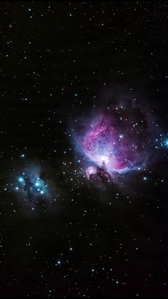 Blue And Pink Nebula Shiny In Outer Space