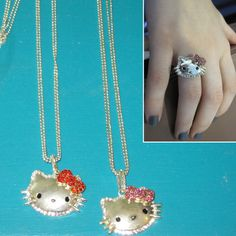 Set of Crystal Kitty Ring and Necklace only $12.99