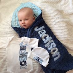 Coming home outfit - personalized bodysuit, beanie cap, and minky blanket in your choice of colors by Tried and True Designs on Etsy on Etsy, $81.00