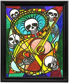"11x14 Romantic Mariachi Muertos Guitar Music Band Skulls Art Print in 11""x14"" Black Wood Frame Artisan Courtyard http://www.amazon.com/dp/B00N9KOHBQ/ref=cm_sw_r_pi_dp_Rwekvb187283X"