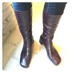 Amazing Purple knee high boots Size 9 1/2 dark purple boots. Skin tight in the legs for a sexy look. Slip on boots with no zipper. 2 1/2 inch heel height, total height is 17 1/2 inches. These are gorgeous! Franco Sarto Shoes Heeled Boots