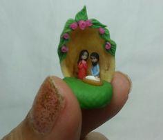 Miniature nativity on pistachio shell., $25.00