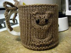 Cable Owl Coffee Mug Coozie by knitatthebar on Etsy