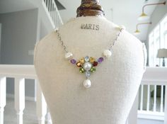 New Ross Simons Sterling Silver 925 Pearl Gemstone Lavalier Drop Necklace #RossSimons #Cluster