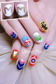 This beautiful avenger nail art design is an eye-catcher and can't be ignored by anyone who loves Avengers as much as we do. Try this out for your love for the Marvel series. Disney Acrylic Nails, Disney Nails, Best Acrylic Nails, Star Nail Designs, Simple Nail Art Designs, Gel Nail Designs, Marvel Nails, Avengers Nails, Cute Nails