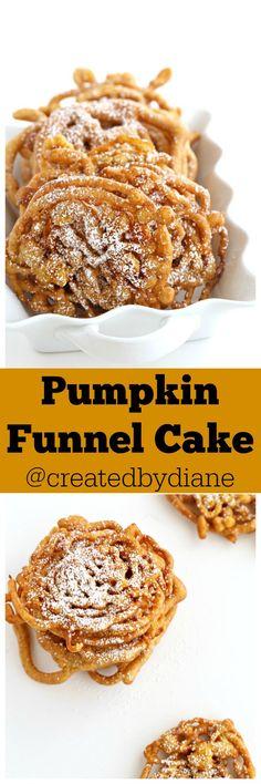 Pumpkin Funnel Cake Created by Diane - Dessert - Köstliche Desserts, Delicious Desserts, Dessert Recipes, Yummy Food, Pumpkin Recipes, Fall Recipes, Holiday Recipes, Pumpkin Funnel Cake Recipe, Pumpkin Cheesecake