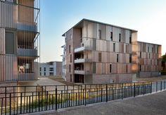 Atelier du Pont. Complejo Lucien Rose en Rennes. 81 VPO, Biblioteca y nuevo acceso al Parque de Thabor. Francia.