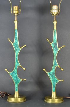 Pepe Mendoza; Brass and Ceramic Inlay Table Lamps, 1950s.