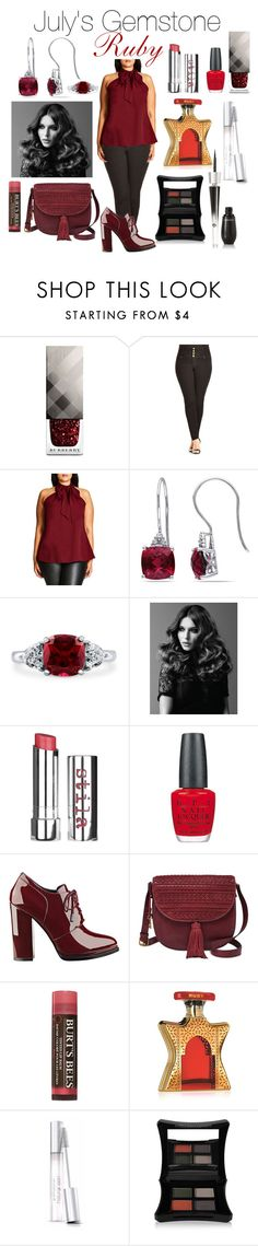 """""""ruby gemstone"""" by dj-alykat ❤ liked on Polyvore featuring Burberry, City Chic, Miadora, BERRICLE, BaByliss Pro, Stila, OPI, GUESS, FOSSIL and Burt's Bees"""