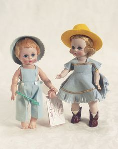 View Catalog Item - Theriault's Antique Doll Auctions Little Genius in Blue Overalls and Alexanderkins in Cowgirl Outfit