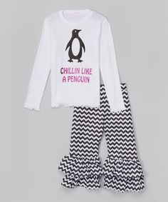 White 'Chillin' Tee & Ruffle Pants - Infant, Toddler & Girls by Beary Basics #zulily #zulilyfinds