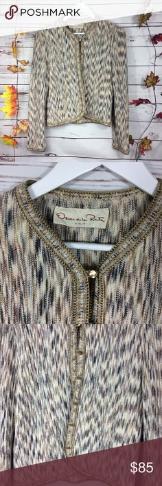 """VINTAGE OSCAR DE LA RENTA Knit Cardigan Collection 1970's with gold buttons sweater jacket.  Pre-owned, no rips, no stains. In beautiful condition.  Approx measurements:  Armpit to armpit: 18"""" Sleeve length: 23"""" Length: 20"""" Jackets & Coats"""