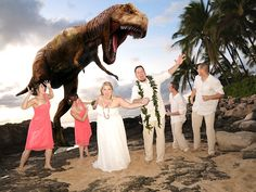 YES, IT'S FAKE! Just to set the record straight, before anyone with a single digit IQ calls me up to ask me if there are dinosaurs in Oahu, let me clarify that yes, there are.  But they only bite if they're not fed well.  And they tend to not appear if you pay your wedding #photographer/planner, who goes by the name of Steve Young, a lot of money.