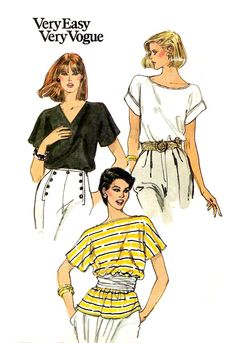 80s UNCUT Misses' Pullover Top Sewing Pattern - 1984 Very Easy Very VOGUE 8253, Size Medium (12-14) - Neckline and Sleeve Variations - Knits by KeepsakesStudio on Etsy