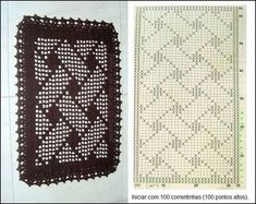 crochet bracelet heart chart also has a fair few filet charts if you click the link in the right hand tray - PIPicStats Crochet Table Runner, Crochet Tablecloth, Crochet Doilies, Crochet Stitches Patterns, Doily Patterns, Knitting Patterns, Crochet Diagram, Crochet Chart, Fillet Crochet