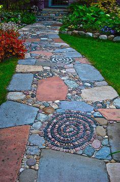 Best 125 Simple Rock Walkway Ideas For Your Garden . - Best 125 simple rock walkway ideas for your garden - Rock Walkway, Mosaic Walkway, Walkway Ideas, Pebble Mosaic, Rock Mosaic, Rock Path, Stone Walkway, Walkway Designs, Flagstone Pathway