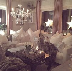 Living Room Interior Design Chandelier Beautiful Corner Sofa Cushions Coffee Table DIY Dream Home