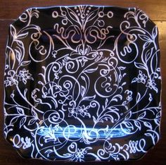 Decorative Dishes - White on Black Scroll Leaf Flower Square Plate, $19.99 (http://www.decorativedishes.net/white-on-black-scroll-leaf-flower-square-plate/)