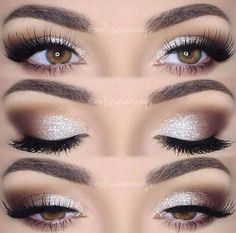 Brown + Silver. Smoky eyes with sparkle.