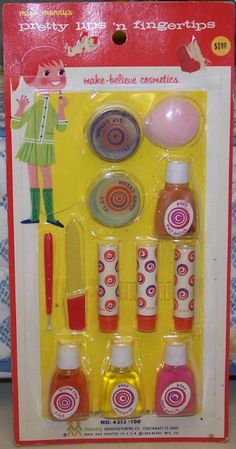 Toy make-up...Five and Dime store Vintage Games, Vintage Dolls, Vintage Kids, Great Memories, My Childhood Memories, Childhood Toys, I Remember When, Retro Toys, 1960s Toys