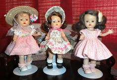 """50's Muffie Dolls by Nancy Ann  In 1953, the 8"""" hard plastic toddler, Muffie, was introduced. She was similar to Vogue's very popular Ginny doll. Muffie's head was made of vinyl beginning in 1957 and she was produced into the 1960s. She had an extensive selection of extra outfits available."""