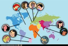 Disney Princesses Around the World...Ariel Is actually from Denmark.  google little mermaid Denmark and you'll see.