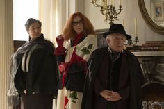 AMERICAN HORROR STORY COVEN Episode 3.4 Fearful Pranks Ensue - Robin Bartlett as Cecily, Frances Conroy as Myrtle and Leslie Jordan as Quentin