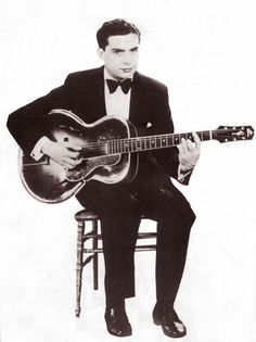 """Eddie Lang (1902 - 1933), born Salvatore Massaro, with a Lloyd Loar Gibson L-5 (""""Only a Gibson is Good Enough!"""")"""