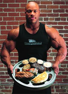 What Phil Heath Eats in his diet. See here http://healthyceleb.com/4937/phil-heath-workout-routine-diet-plan/
