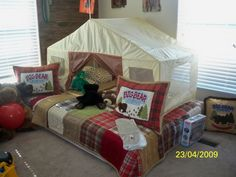 A camping theme boy's room! would love to update lucas to this camping room. have the throw pillow, lantern,stuffed bear already