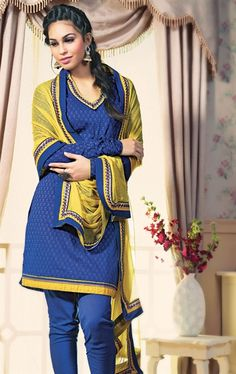 Picture of Indian Ethnic Blue Color Fashionable Churidar Kameez
