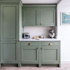 Farrow and Ball Card Room Green Green Kitchen Cupboards, Farrow And Ball Paint, Painted Cupboards, Card Room Green Farrow And Ball, Farrow Ball, Kitchen Cupboard Colours, Farrow And Ball Kitchen, Gray Interiors, Kitchen Cupboards Paint