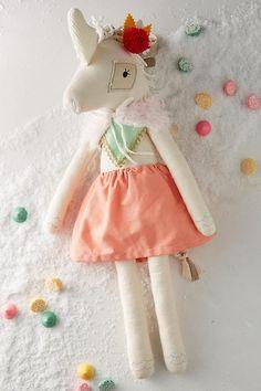 Anthropologie $28 Unicorn Fancy Lady Doll by Dainty Cheeks